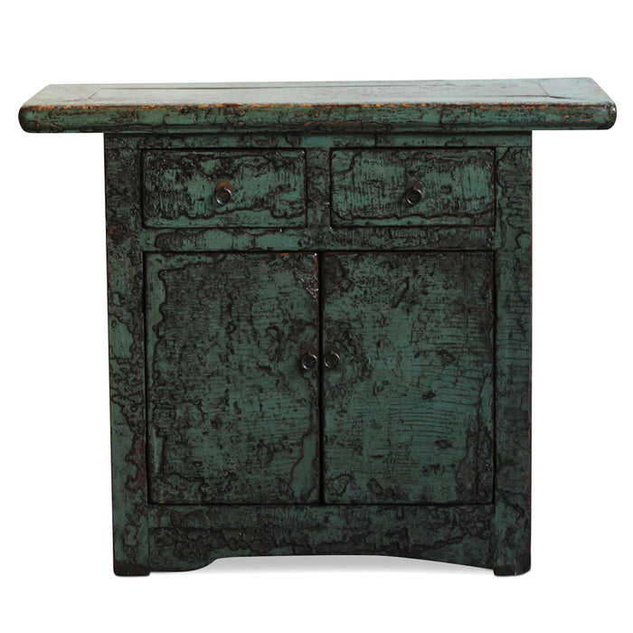 Chinese Antique Green Lacquer Cabinet