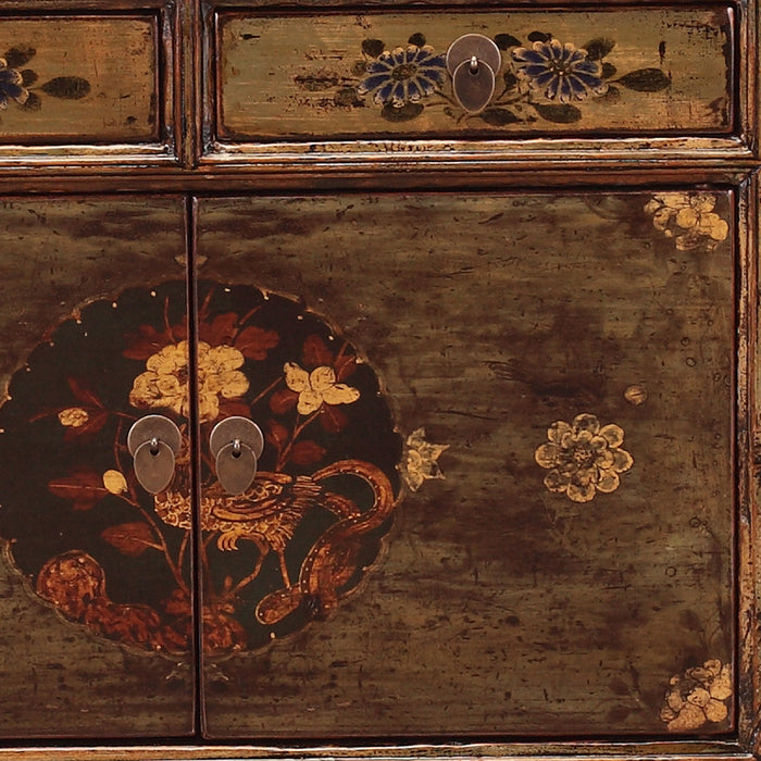 Green Lacquer Cabinet with Flowers