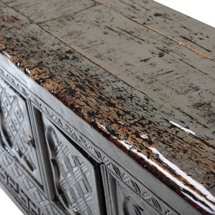 Grey Lacquer Carved Buffet