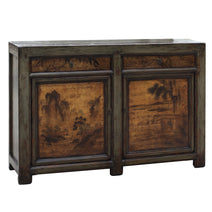 Grey Lacquer Cabinet with Landscapes