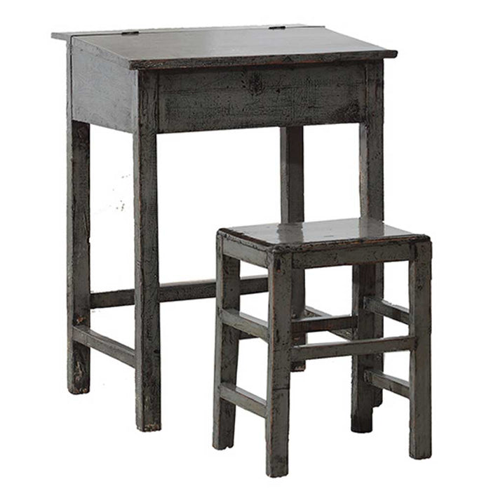 Grey Lacquer Desk and Stool