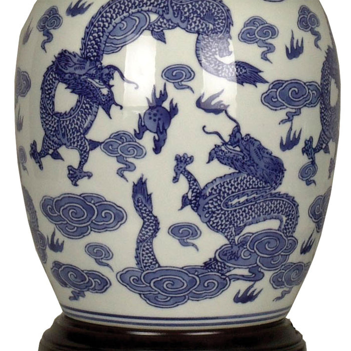 Blue and White Dragon Jar Lamp