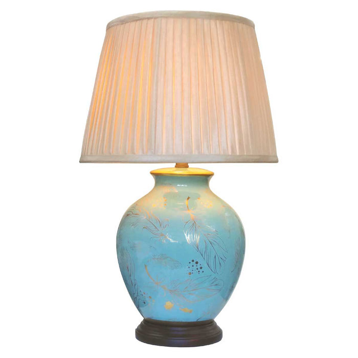 Turquoise Feather Lamp