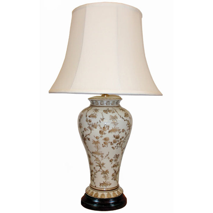 White and Brown Ceramic Table Lamp