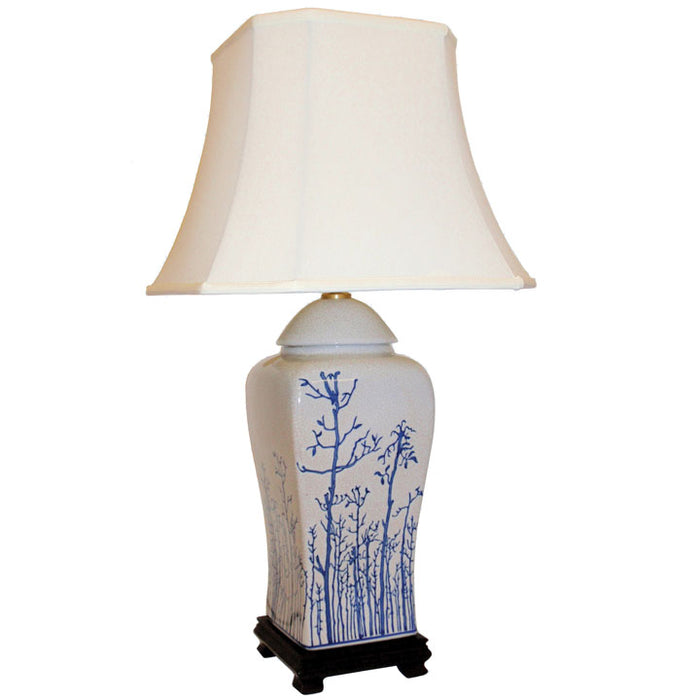 Cream Ceramic Lamp with Winter Trees