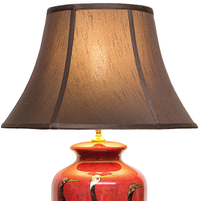 Red Lacquer Table Lamp with Gold Cranes