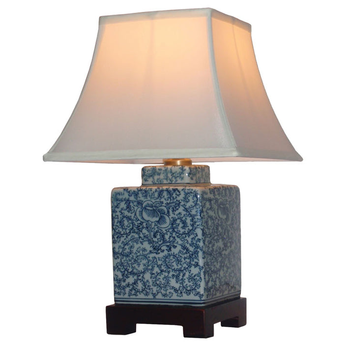 Blue and White Floral Lamp