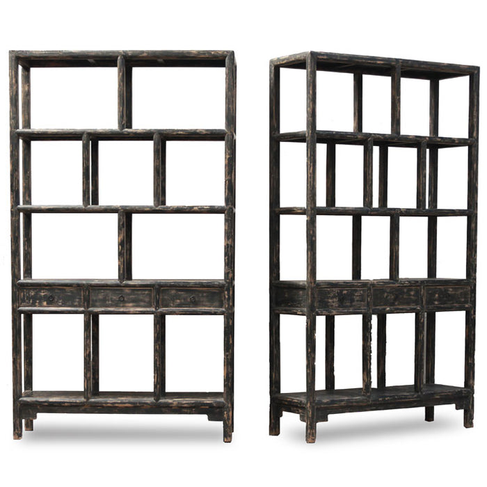 Pair of Reclaimed Wood Bookshelves