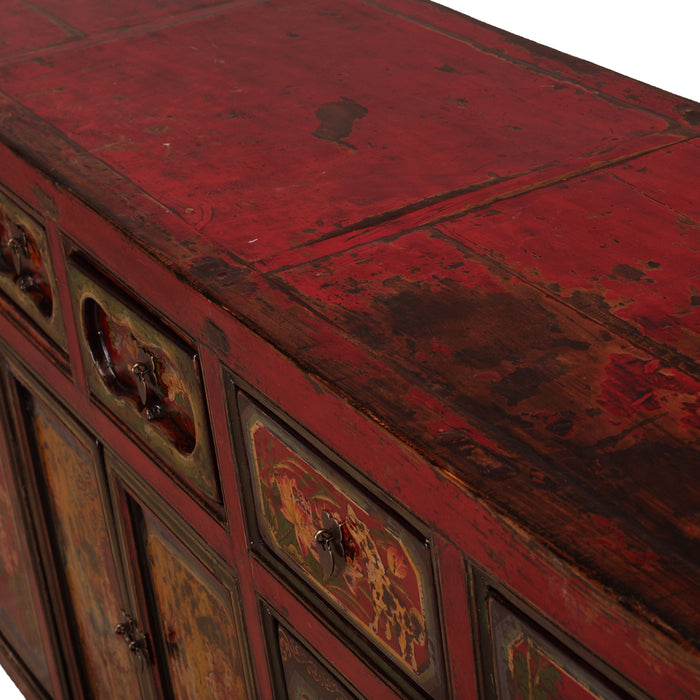 Painted Buffet in Red Lacquer