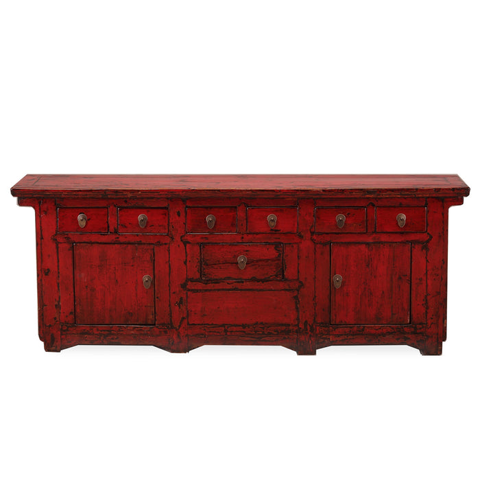 Large Storage Sideboard in Red Lacquer