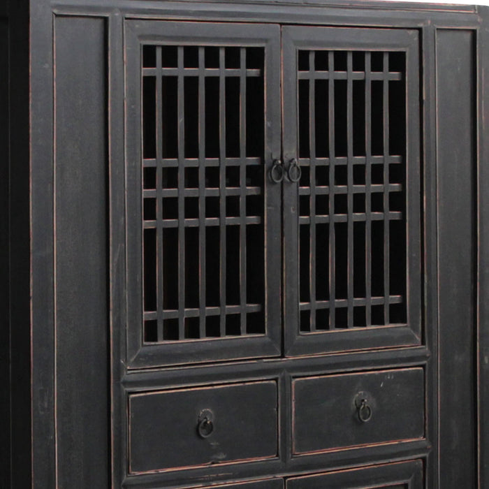 Antique Chinese Lattice Door Cabinet