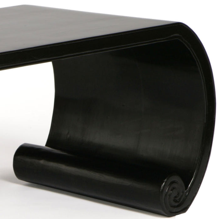 Low Scroll Table, Black Lacquer