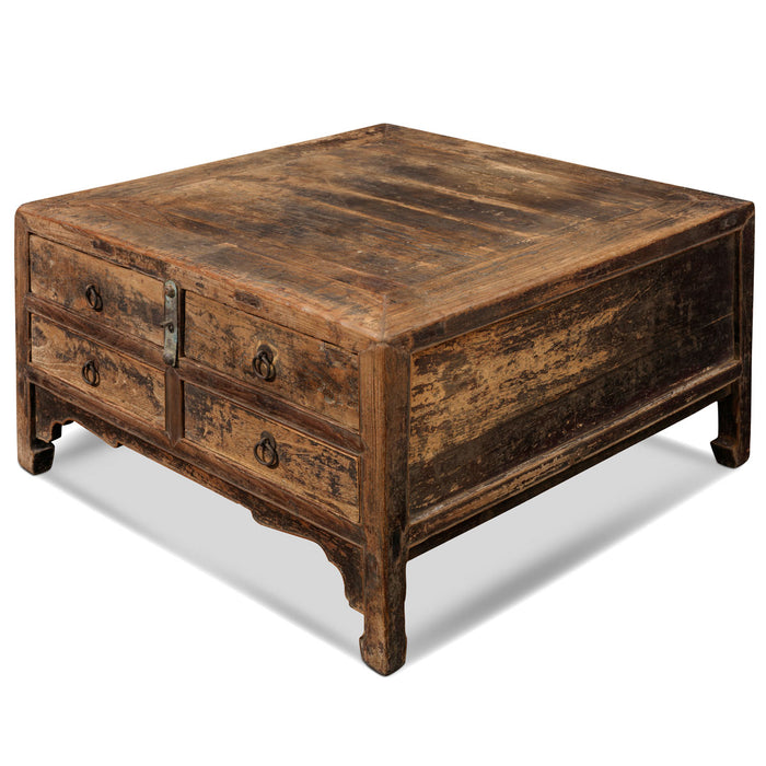 Low Square Elm Table with Drawers
