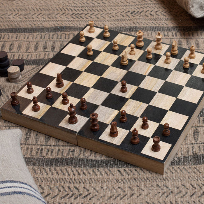 Mango Wood Chess and Draughts Set