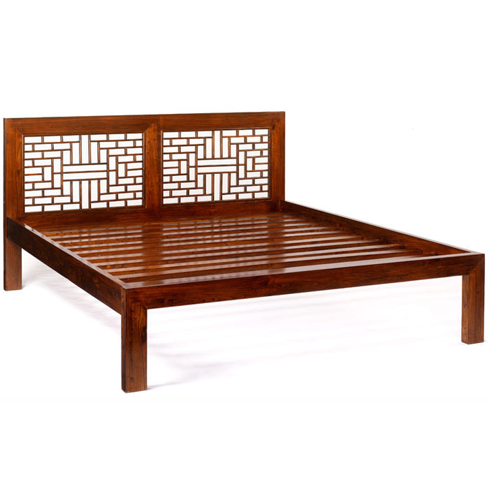 Ming Carved Bed, Warm Elm