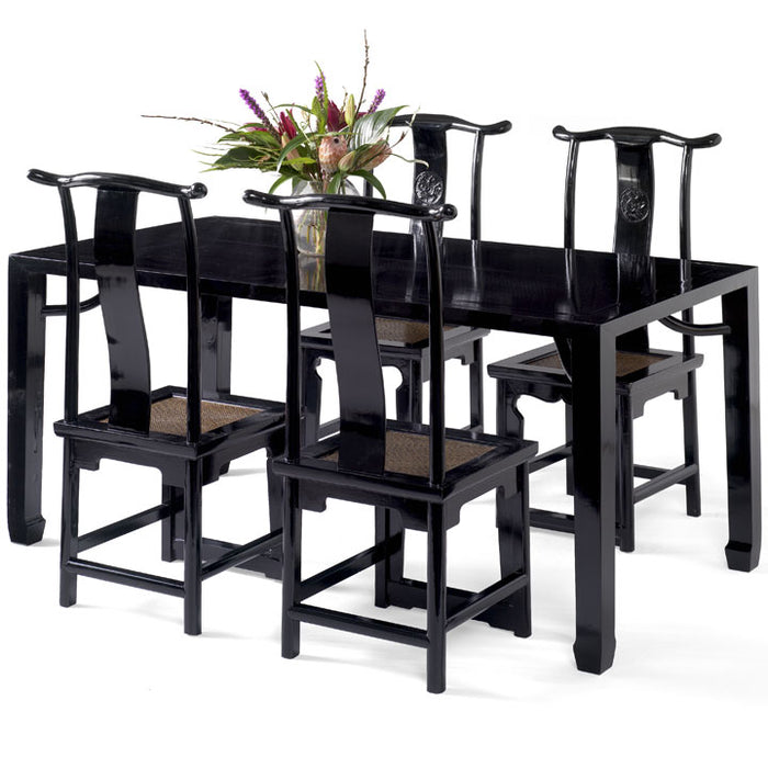 Ming Dining Table, Black Lacquer
