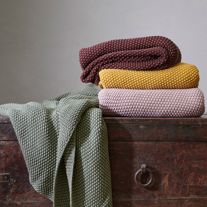 Moss Stitch Cotton Throw - Colours