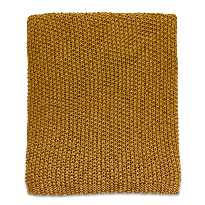 Moss Stitch Cotton Throw Mustard