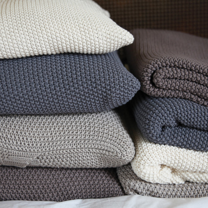 Moss Stitch Cotton Throw - Neutrals