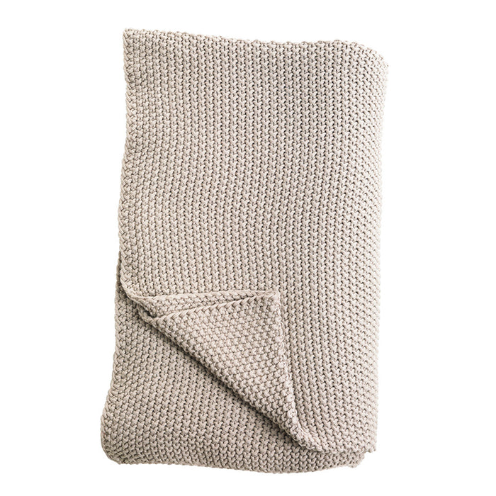 Moss Stitch Cotton Throw Stone