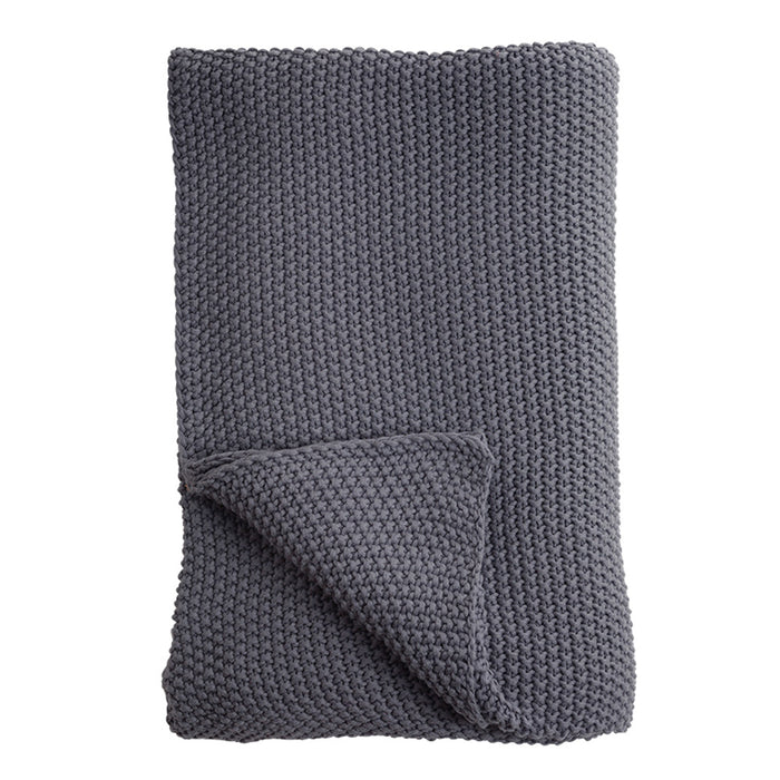 Moss Stitch Cotton Throw Charcoal Grey