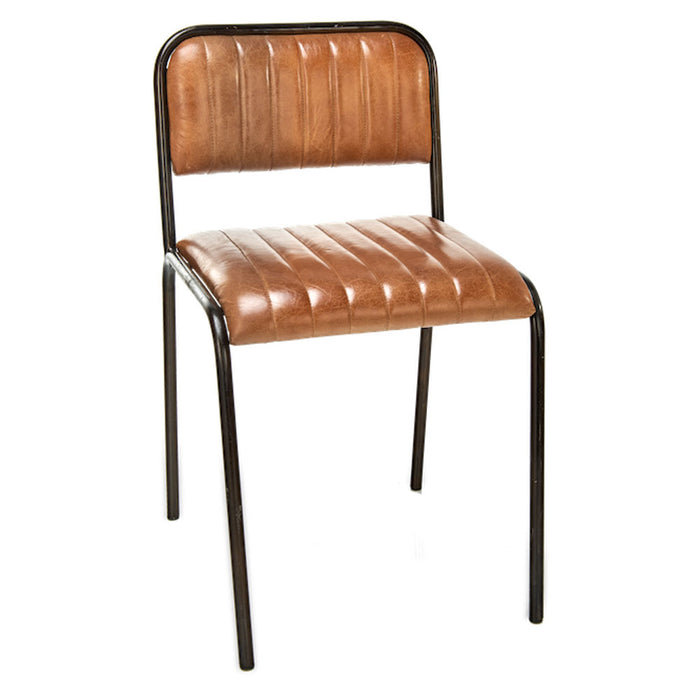 Narwana Ribbed Leather Dining Chair