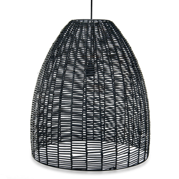 Noko Wicker Conical Pendant, Black, Large