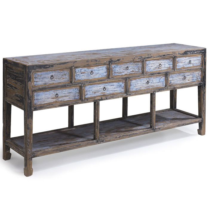 Nine Drawer Console, Blue and Black