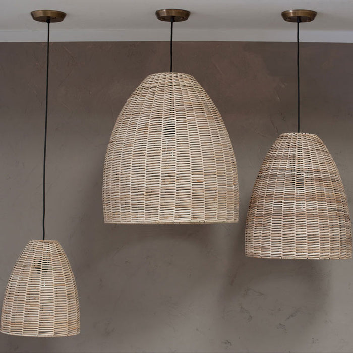 Noko Wicker Conical Pendant, Natural