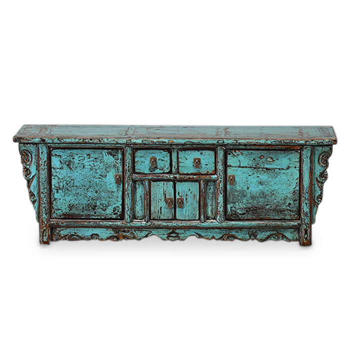 Low Oriental Antique Sideboard, Blue Lacquer