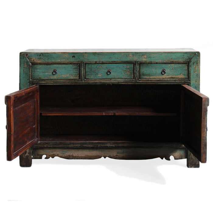 Chinese Antique Teal Lacquer Sideboard