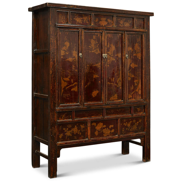 Large Shanxi Painted Pine Armoire