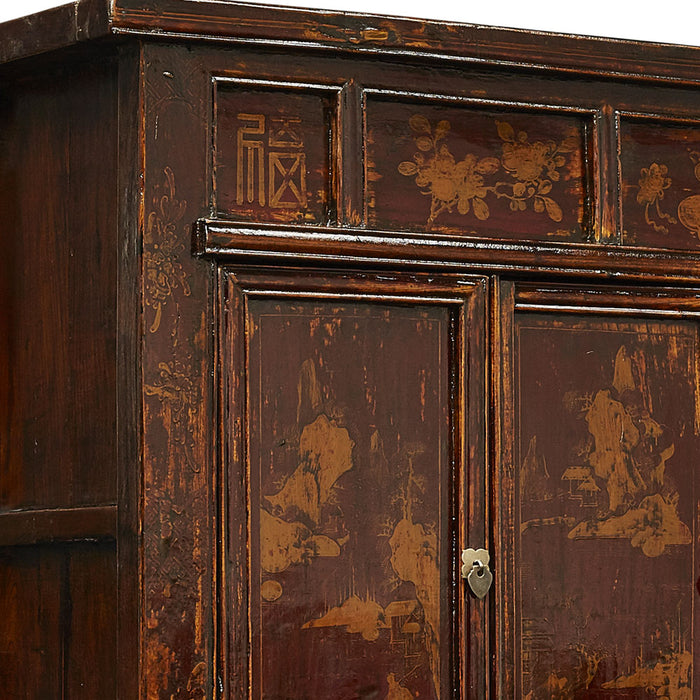 Chinese Antique Large Painted Pine Armoire