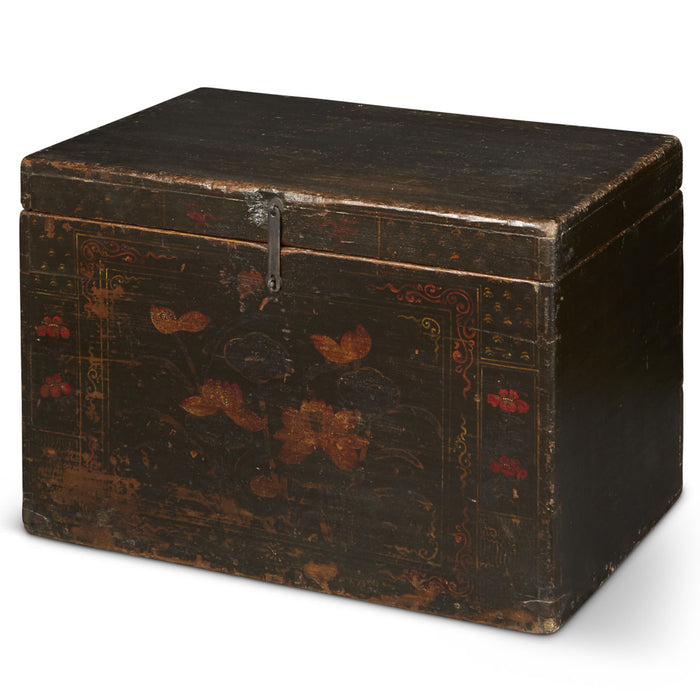 Painted Chinese Black Lacquer Trunk