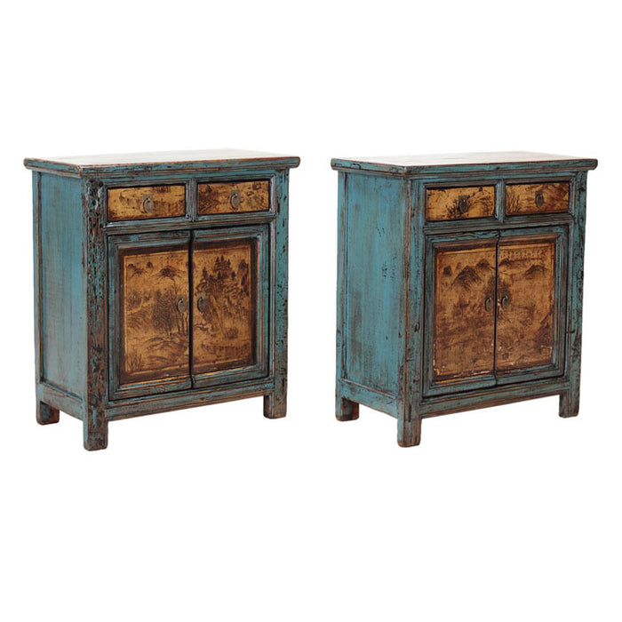 Pair of Side Cabinets, Blue and Cream