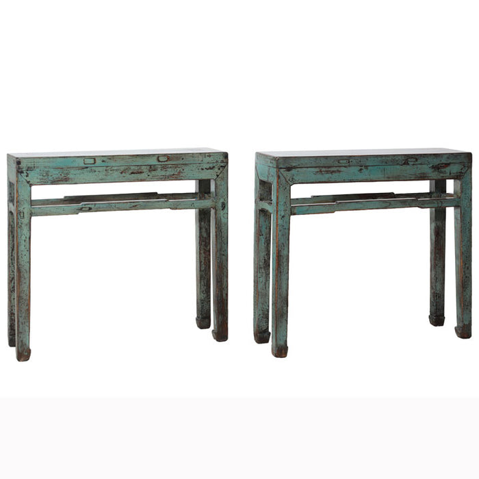 Pair of Blue Lacquer Side Tables