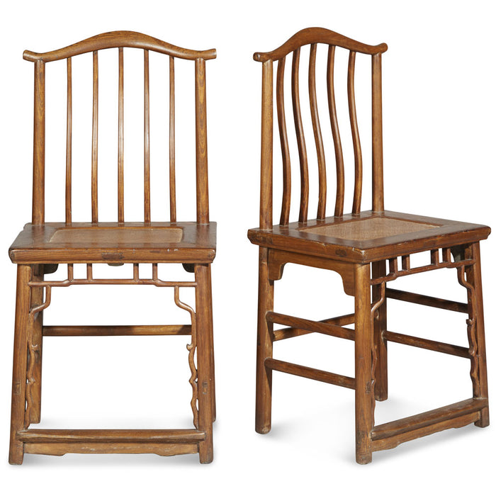 Pair of Natural Elm Yoke Back Chairs