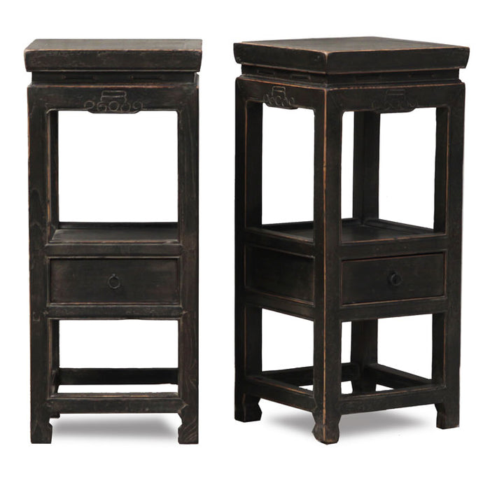 Pair of Black Lacquer Tea Tables