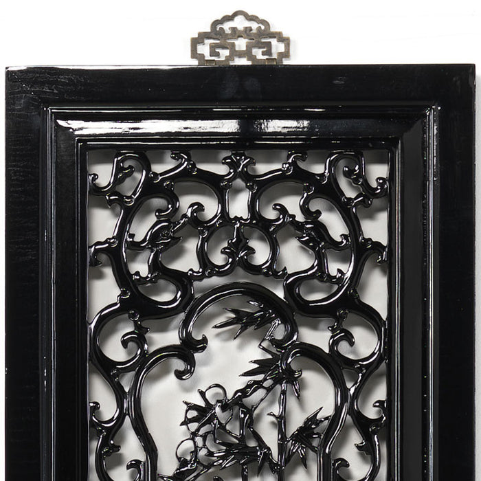 Carved Panel - 'Uprightness', Black Lacquer