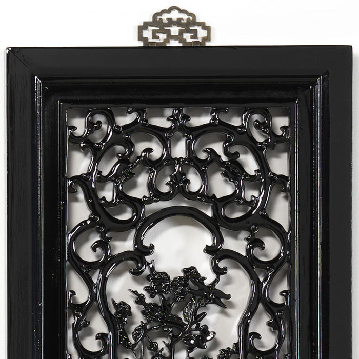 Carved Panel - 'Courage' Black Lacquer