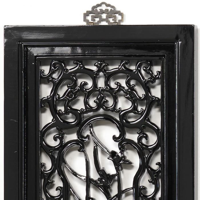 Carved Panel - 'Purity', Black Lacquer