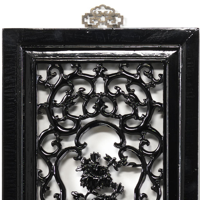 Carved Panel - 'Humility', Black Lacquer
