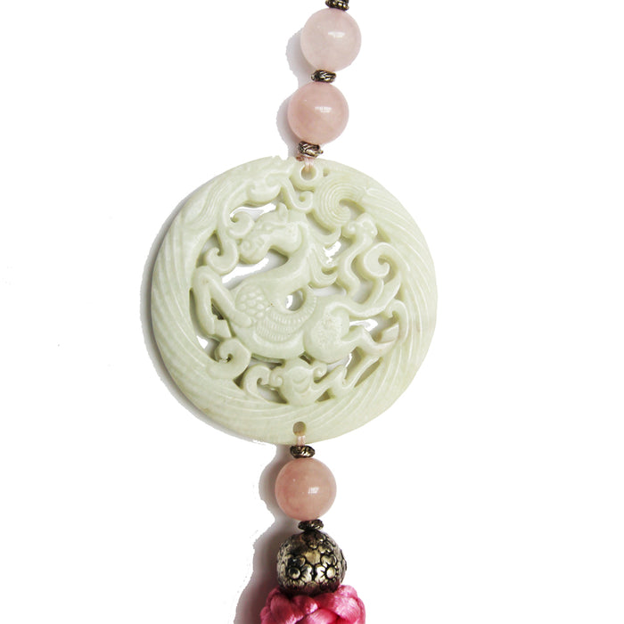 Pink Silk Tassel with Jade Horse