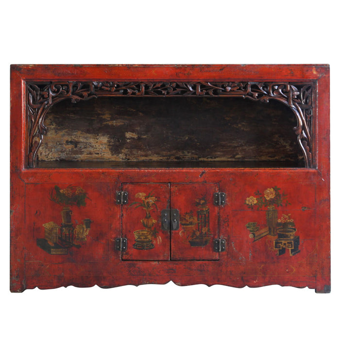 Qinghai Red Lacquer Display Cabinet