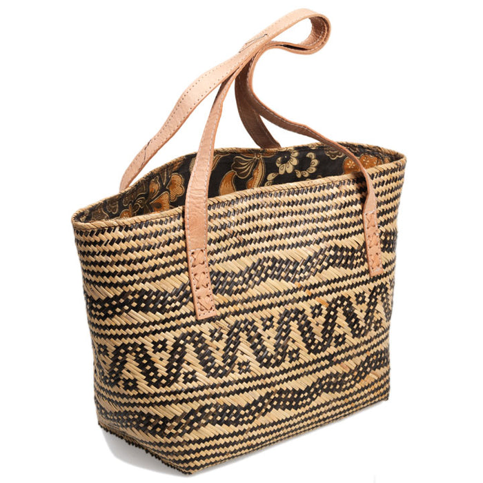 Rattan Bag with Batik Lining, Medium
