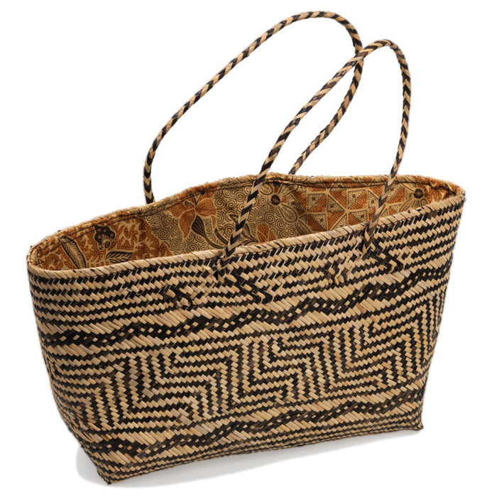 Rattan Bag with Batik Lining, Small