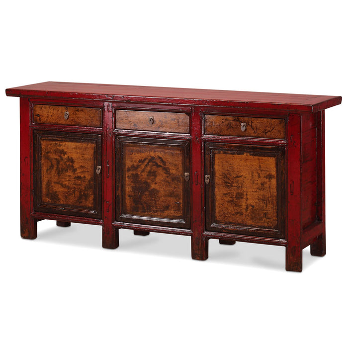 Chinese Antique Sideboard With Landscape Paintings