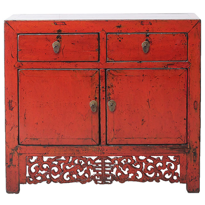 Red Lacquer Cabinet with Carved Apron