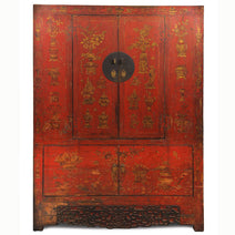 Red Lacquer Armoire with Gold Paintings