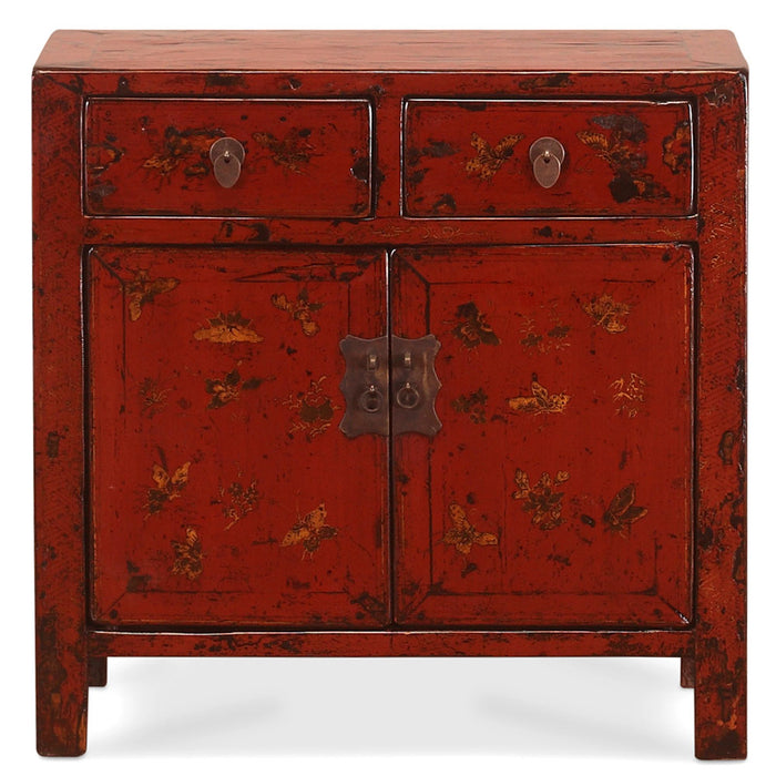 Red Lacquer End Cabinet with Gold Butterflies